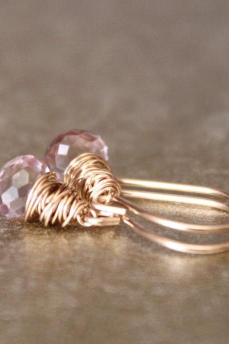 Pink Quartz Yellow Gold Earrings Wirewrapped Bridesmaid Feminine