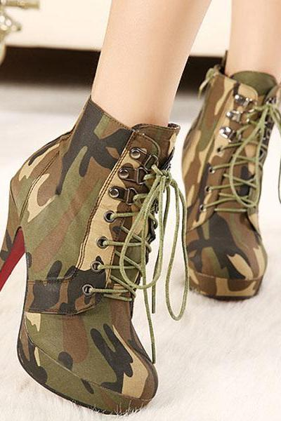 High Heel Boots Zipper Combat Boots Women Military Boots combat Boots