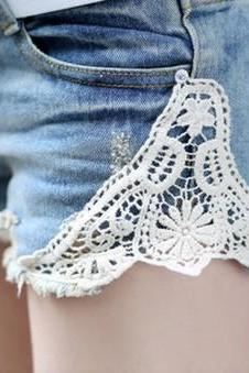 Denim WASH Lace Shorts