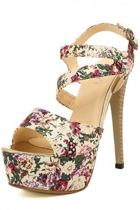 Open Toe Floral Print Strappy Platform Stiletto Sandals