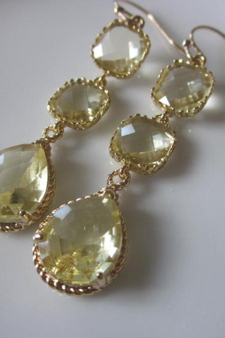 Citrine Earrings Yellow Earrings Three Tier - Gold Plated - Bridesmaid Earrings - Bridal Earrings