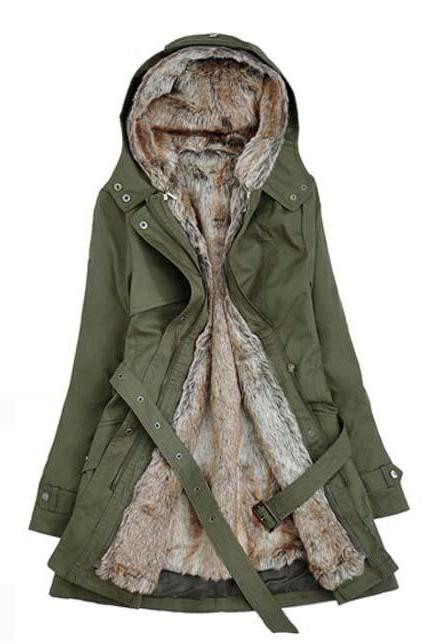 Solid Black Fleece Zipper Closure Hooded Coat Army Green(Asian size)