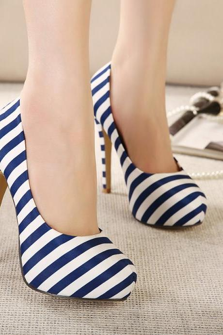 Rounded Toe Striped Stiletto Pumps