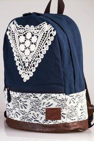 Blue Canvas Lace Backpack