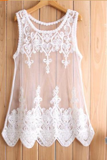 Lace sleeveless embroidered shirts #091805AD
