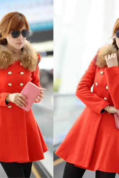 Women Woolen Winter Trench Double Button Fur Collar Coat