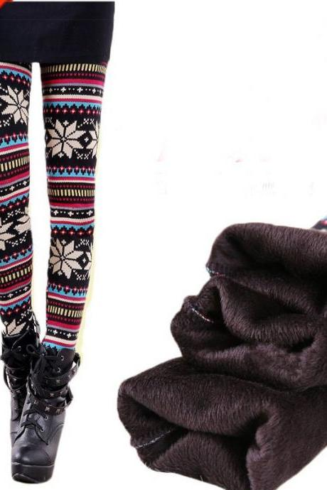 Vintage Snow Plus Thick Velvet Folk Style Leggings