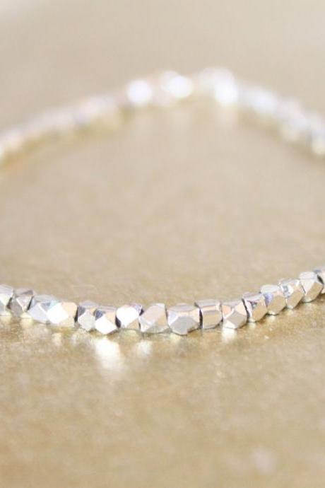 Faceted Sterling Silver Bali Nuggets String Bracelet