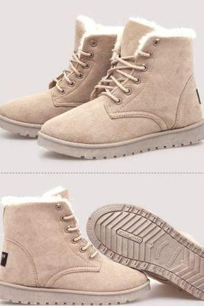 HOT Womens Ankle Boots Real Fur Winter Warm Thicken Shoes Snow Boots