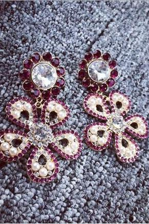 Big earrings set auger pearl mei red flowers