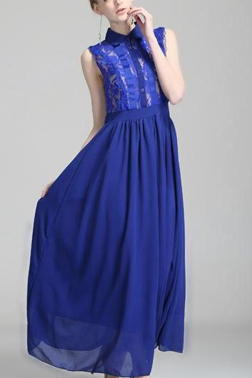 High Quality Gorgeous Sleeveless High Waist Dress for Lady - Blue