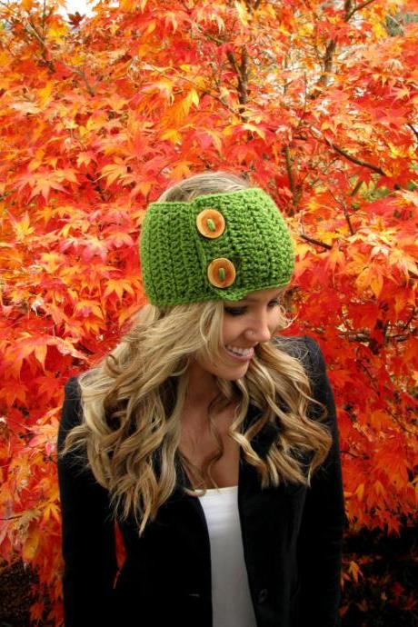 Juicy Green Apple Head Wrap w/ Reclaimed Wood Buttons Hair Accessory Band Earwarmer Fall Headband Fashion Teen Adult Unisex Girl Woman Men