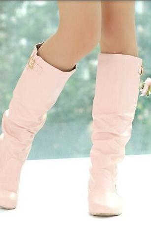 2014 New women's boots Autumn&Spring Low-heeled knee-high boots Fashion&Sweet PU lady shoes Big size 34-43