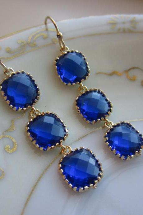 Cobalt Blue Earrings Gold three tier blocks Wedding Earrings - Bridesmaid Earrings - Bridal Earrings