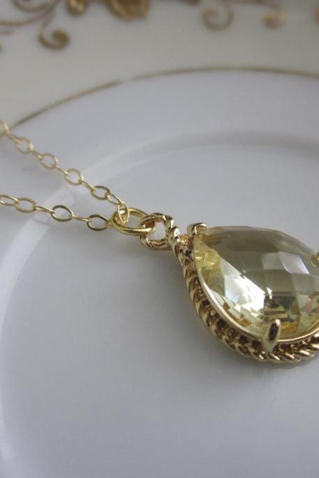 Citrine Necklace Teardrop on 14k Gold Filled Chain - Gold Plated Gem - Bridesmaid Necklace - Bridesmaid Jewelry - Bridal Wedding