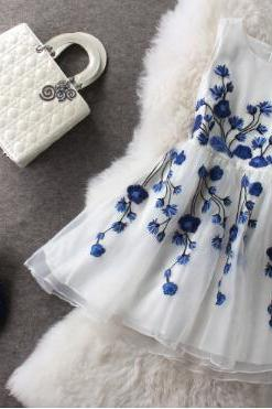 Fashion blue embroidered dress #091909AD