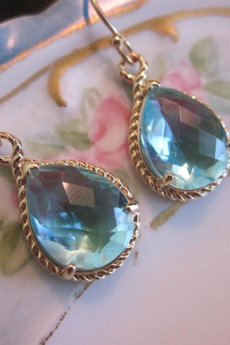 Aquamarine Earrings Gold - Teardrop Glass - Bridesmaid Earrings - Wedding Earrings - Bridal Earrings
