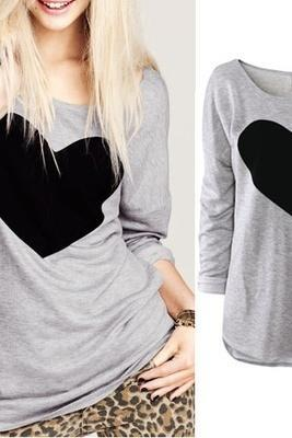 Women's Crew Neck Love Printed Top Loose Causal T-shirt Blouse