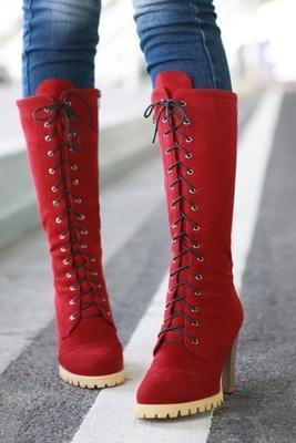 Punk Style Lace up High Heel Boots Red