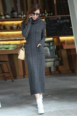 2014 New Fashion Korean fashion warm winter knit gown with high collar sweater dress lengthened cultivating cannabis (Color Dark gray)