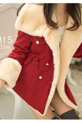 2014 winter warm coats women wool slim double breasted wool coat winter jacket women fur women's coat jackets new