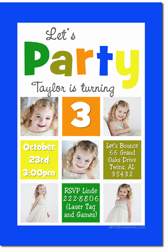 Photo Birthday Invitations (Download JPG Immediately) Click For Additional Designs
