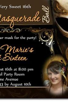 Masquerade Mardi Gras Party Birthday Invitations (Download JPG Immediately) Click For Additional Designs