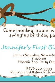 Monkey Birthday Invitations (Download JPG Immediately) Click For Additional Designs