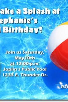 Swimming Pool Birthday Invitations (Download JPG Immediately) Click For Additional Designs