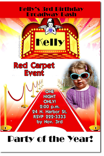 Red Carpet Hollywood Movie Party Birthday Invitations (Download JPG Immediately) Click For Additional Designs