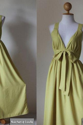Yellow Bridesmaid Dress - Gorgeous Elegant V-styled Neck Evening Maxi Dress : Love Party Collection