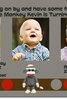 Sock Monkey Birthday Invitations (Download JPG Immediately) Click For Additional Designs