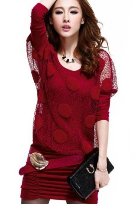 Red Blouse Tops For Women Batwing Style Lace Red Luxury Blouse
