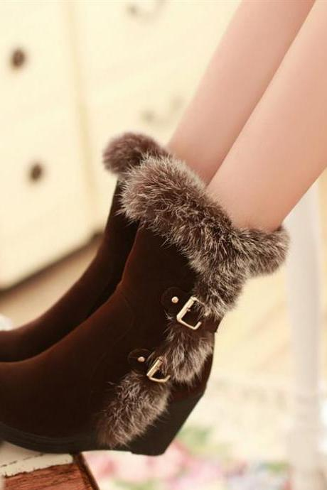 High Heels,Fashion Buckle Snow Boots,Boots For Women,Black Boots,Brown Boots