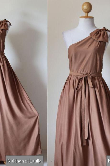 One Shoulder Dress - Bridesmaid Dress Evening Long Gown Caramel Maxi Dress : Prom Queen Collection