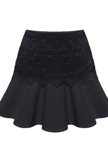 Black Flounced Skirt with Floral Lace Embellishment