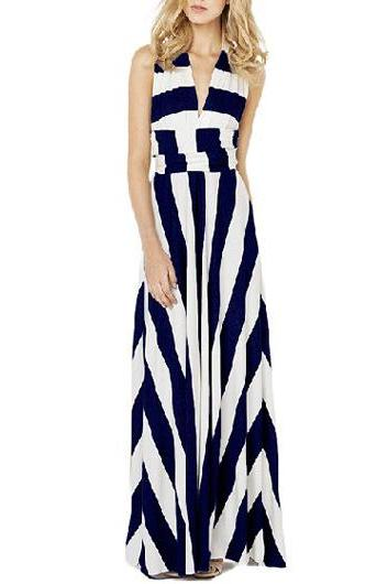 Convertible striped long maxi dress