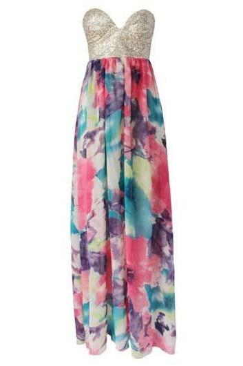 Woman Romantic Strapless Print Design Maxi Dress