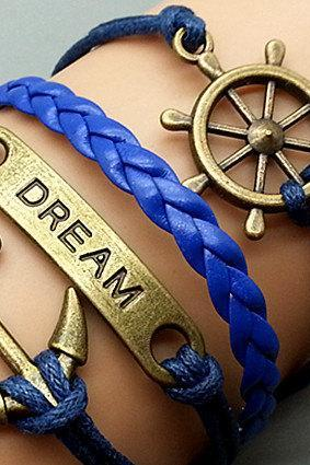 Anchor Dreaw & Helmsman Bracelet Charm Bracelet Silver Bracelet Navy blue Korean Wax Cords Leather Charm Bracelet Personalized Bracelet