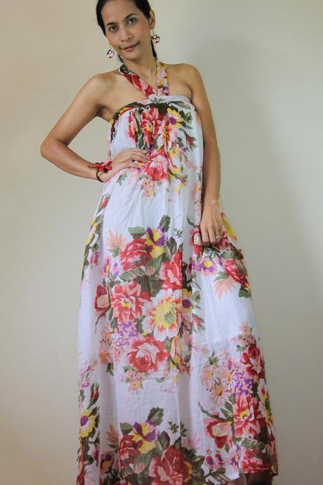 Floral Maxi Dress Party Bridesmaid Stylish Tube Halter Spring Summer Gown : Flower Blossom Collection