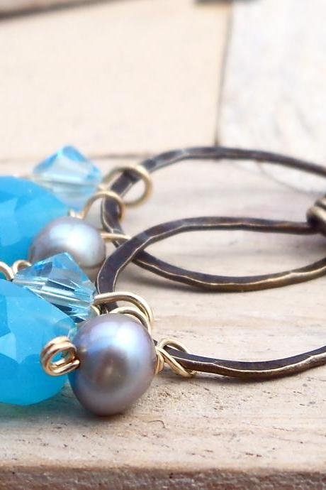 Antiqued Brass Hammered Hoop Earrings with Blue Chalcedony and Crystal