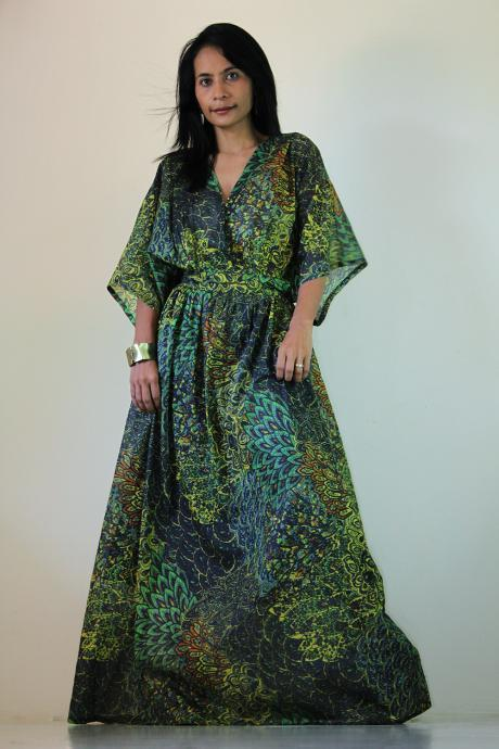 Peacock Kimono Dress Women Kaftan Maxi Dress : Boho Kimono Collection