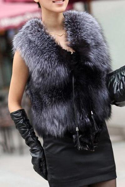 Luxury Faux Fur Vest Jacket Coat Winter Women Waistcoat Tops Outerwear Size 6-14