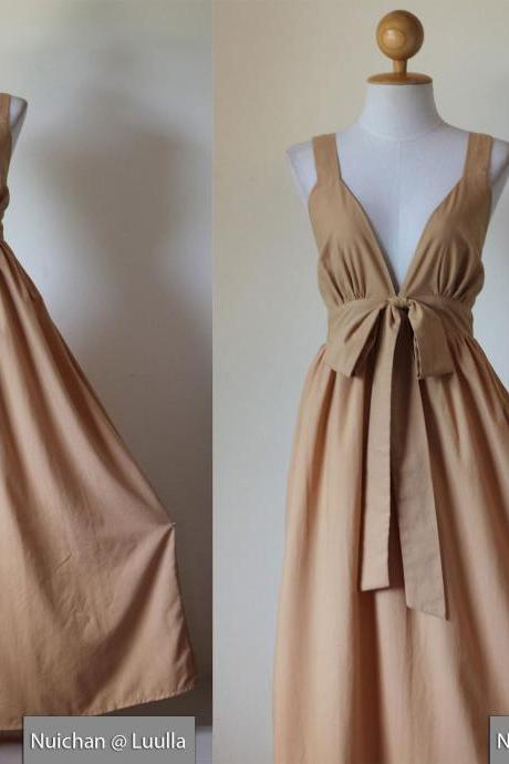 Light Brown Bridesmaid Maxi dress - Elegant Cocktail Evening Cotton Dress : Love Party Collection