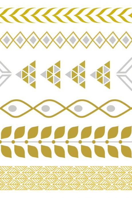 Rouelle ELLEtatts Pyramid: Metallic Tattoos, flash tattoos, gold tattoos, silver tattoos, temporary tattoos, jewelry tattoos.