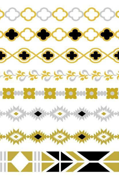 Rouelle ELLEtatts Black Aztec: Metallic Tattoos, flash tattoos, gold tattoos, silver tattoos, temporary tattoos, jewelry tattoos.