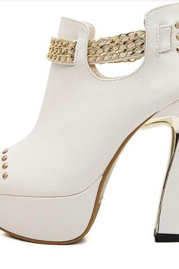 Studded Gold Chain Design High Heel Peep toe Boots in Black and White