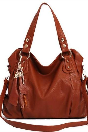 Fashion Dark Brown Tassel Handbag & Shoulder Bag