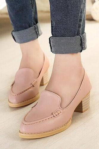 Comfy Pink Pointed Toe Chunky Heel Shoes