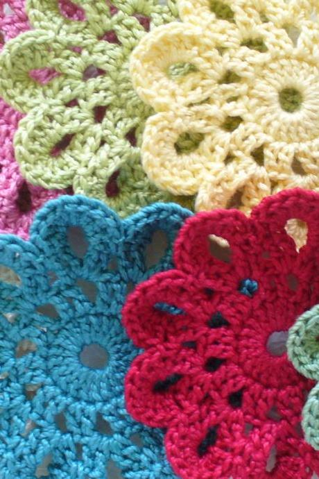 Handmade Cotton Coasters, small Doilies, Embellishments - set of 6